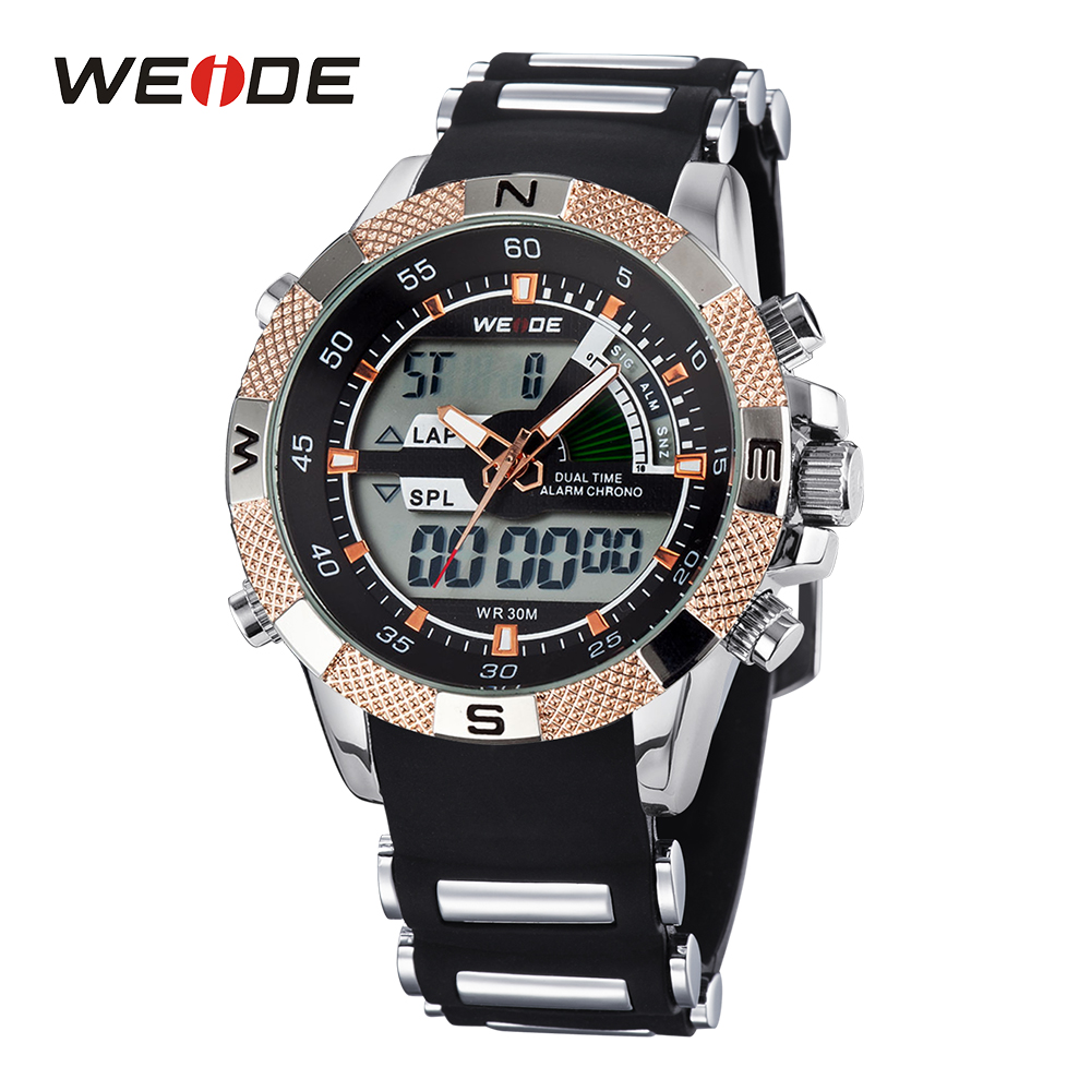 WEIDE Men's Quartz Watches Luxury Sports Army Stopwatch Analog Digital Wristwatch Silicone Strap Band 3ATM Alarm Military Watch weide mens black sports stopwatch quartz digital watch date day alarm silicone band buckle man wristwatches relojes para hombres page 4