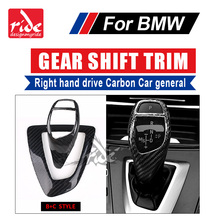 For BMW E46 E90 E92 E93 F30 F35 Right hand drive Carbon car Gear Shift Knob Cover trim B+C Style 5-Series 318i 320i 328 320i 325 for bmw lhd carbon fiber auto door handle knob exterior trim covers for bmw 1 3 4 series e90 e92 e93 f30 f35 2005 15 sticker