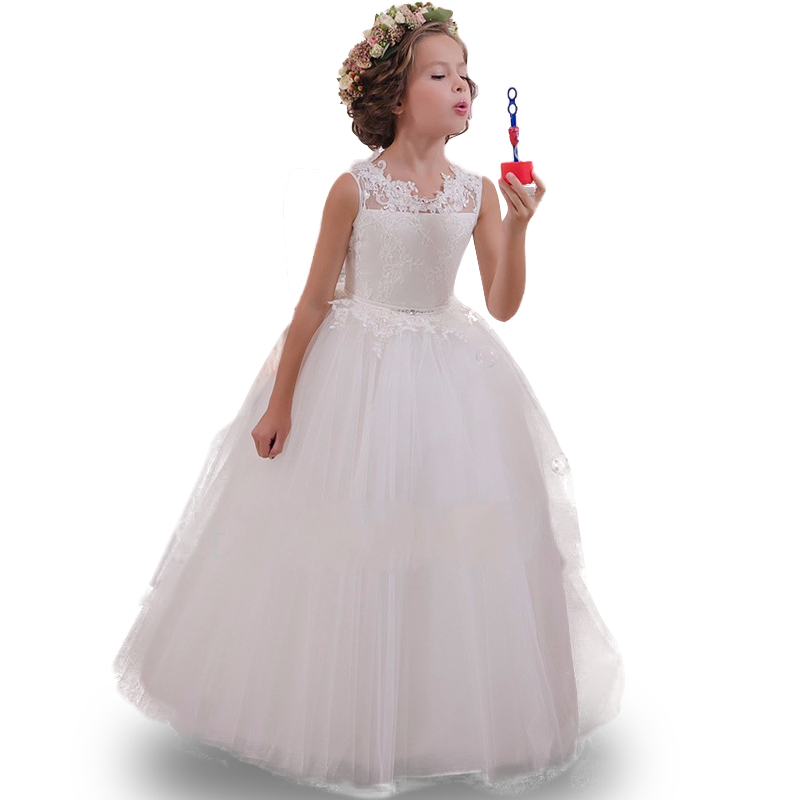 2017 Summer Wedding Party Dress Flower Girl Dresses With Bow Beaded Crystal Lace Up Applique Ball Gown First Communion Dress cute new long sleeves white ball gown flower girl dresses french lace beaded first communion dress with sequin bow and sash