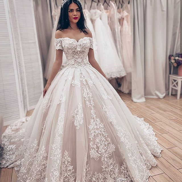 China Long Sleeves Wedding Dress Custom Made Lace Princess: Princess Off Shoulder Wedding Dress Ball Gown Bridal Gown