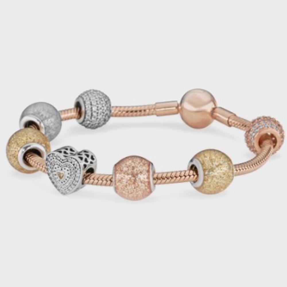 EDELL 100% 925 Silver Bangle Set Women's Elegant Glitter Ball Heart Zircon Rose Gold Jewelry Bracelet цена 2017