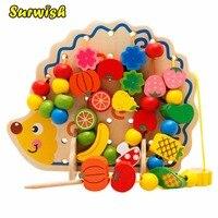 Hedgehog Shape Fruit Beads Wooden Building Blocks Educational Toys for Children