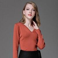 2017 Kobiet Swetry I Pulowery XL-4XLWomen's Sweter z Dzianiny Z Długim rękawem Kobiet Szczupła Elastyczna V Neck Sueter Mujer Ciągnąć Femme