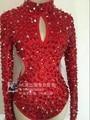 Сельма этап боди женский костюм красный заклепки дрель dress Sexy выдолбленные DJ певица танцор star bar show party ночной клуб