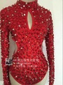 silm stage bodysuit  female costume red rivet drill dress Sexy hollowed out DJ for singer dancer star bar show party nightclub
