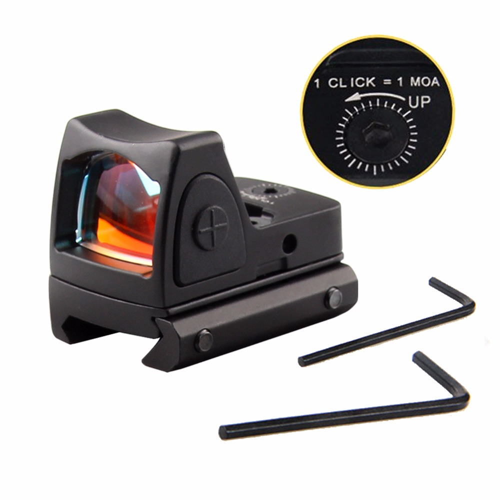 Mini RMR Red Dot Sight Collimator Glock Reflex Sight Scope fit 20mm Weaver Rail For Hunting