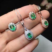 Женское кольцо с изумрудом shilovem свадебное ожерелье из стерлингового