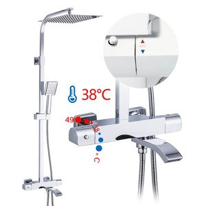 Image 3 - GAPPO thermostatic Bathtub Faucets shower set rainfall faucet hot and cold black Shower faucet Bathtub thermostatic shower mixer