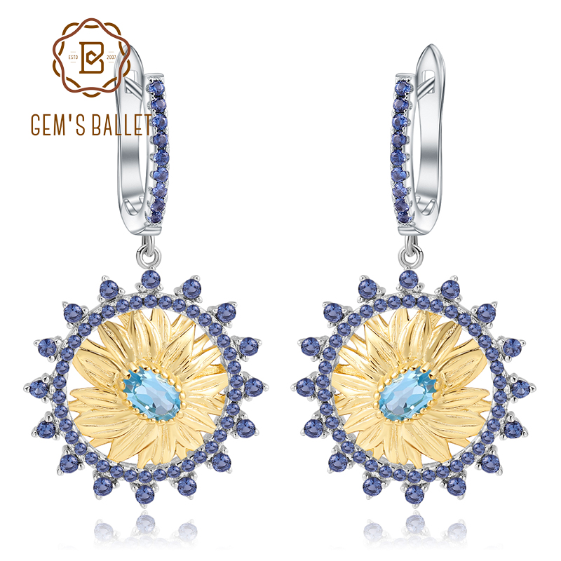 GEM S BALLET 1 20Ct Natural Swiss Blue Topaz Sunflower Drop Earrings 925 Sterling Silver Handmade