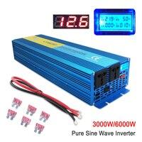 Pure sine wave Power inverte Digital Display 6000W MAX DC 12V/24V To AC 220V 50HZ/60HZ CAMPING BOAT SINEWAVE