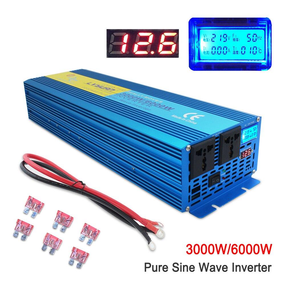 Reine sinus welle Power inverte Digital Display 6000W MAX DC 12V/24V Zu AC 220V 50HZ/60HZ CAMPING BOOT SINUS