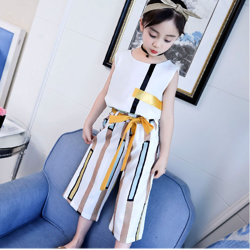 teenage girls summer sets 2018 baby girl clothing kids calf -length loose pants and striped t shirts tops children clothes set girls tops cute pants outfit clothes newborn kids baby girl clothing sets summer off shoulder striped short sleeve 1 6t