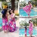 Mother Daughter Matching Dresses 2016 Summer Style Beach Dress Brands Family Clothing Girl and Mother  Dress Chiffon Slip Dress
