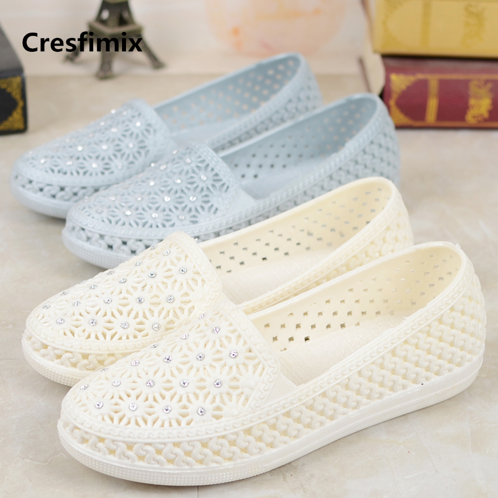 Cresfimix Women Comfortable Jelly Flat Shoes With Crystal Lady Fashion New Arrival Summer Flat Shoes Weterproof Shoes A848