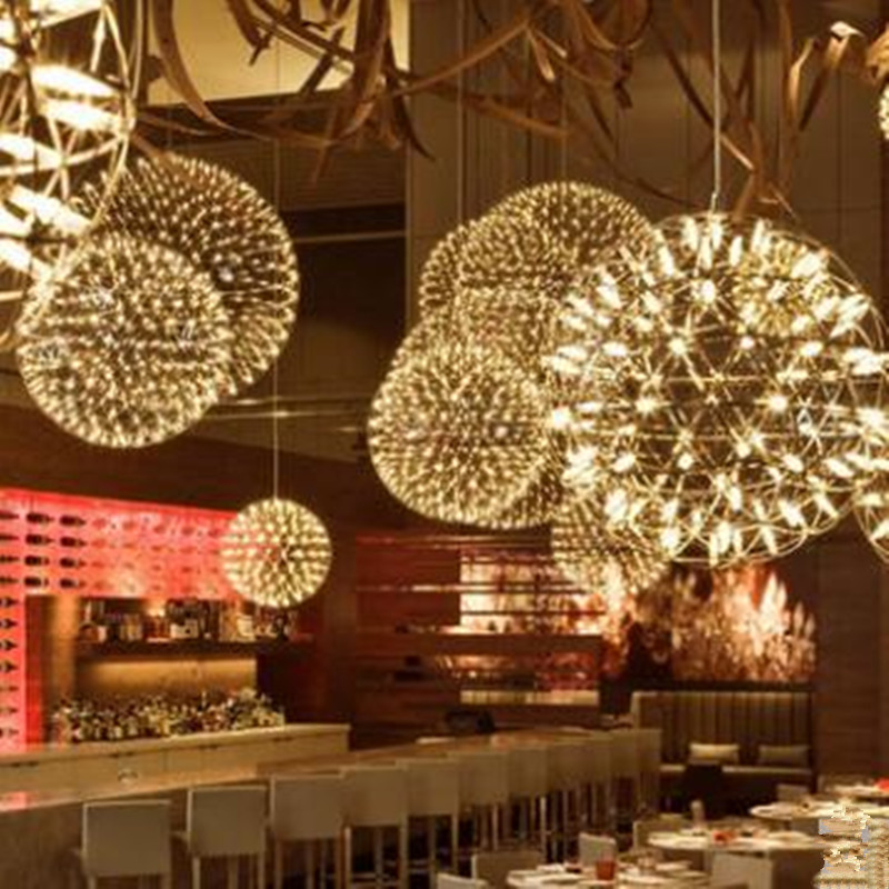 Luxury indoor lighting Sparks Planet lamps The fireworks led pendant lamp star lights big ball light fixture