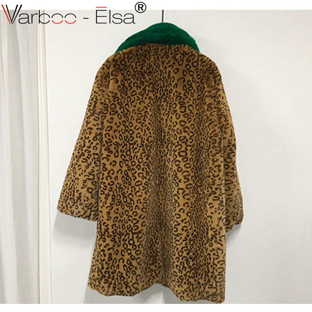 efca69f5ca9 VARBOO ELSA 2018 Winter Women Green fur collar Leopard faux Fur coat  Vintage Elegant Warm Coat Fashion Warm furry coats Outwear