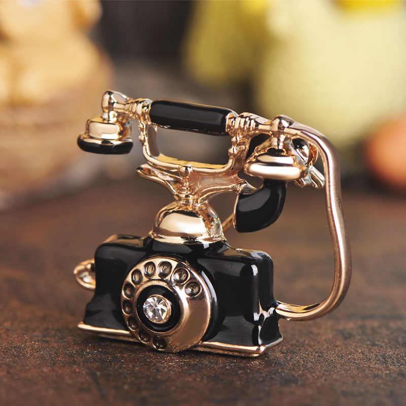 Retro Telefono di Rete Fissa Spilla di Cristallo Dello Smalto di Colore Dell'oro Dei Monili Spille Spilli Donne Degli Uomini Vestiti di Vestito Tasca Del Cappotto Sciarpa Accessori
