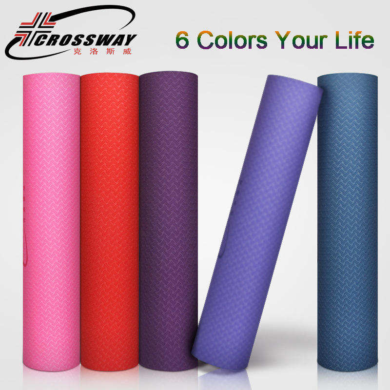 CROSSWAY Yoga Mats High Density TPE 1.1KGS N.W. 6mm Thickness Bicolors Fitness Exercise Pilates Home Mat 6 Colors 183cm*61cm*6mm new yoga pilates exercise high density eva foam massage roller fitness home gym massage