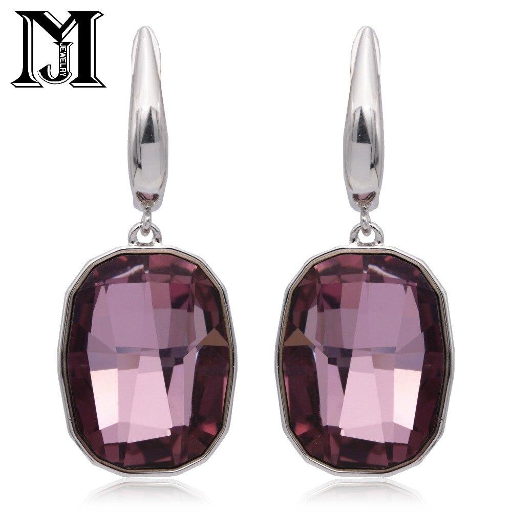 JiaMu fashion popular jewelry pendant big crystal white earrings with swarovski elements for lady gift women's paty wedding