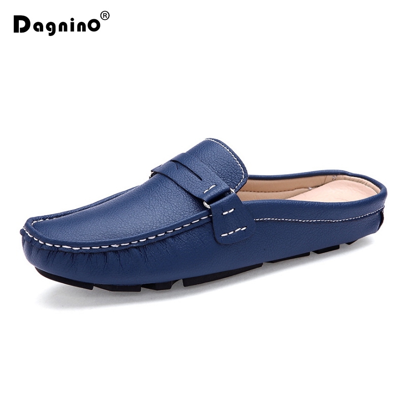 DAGNINO New Summer PU Leather Lazy Loafers Shoes Mens Hollow Out Breathable Half Sandals Driving Peas Shoes Flats Zapatos Hombre