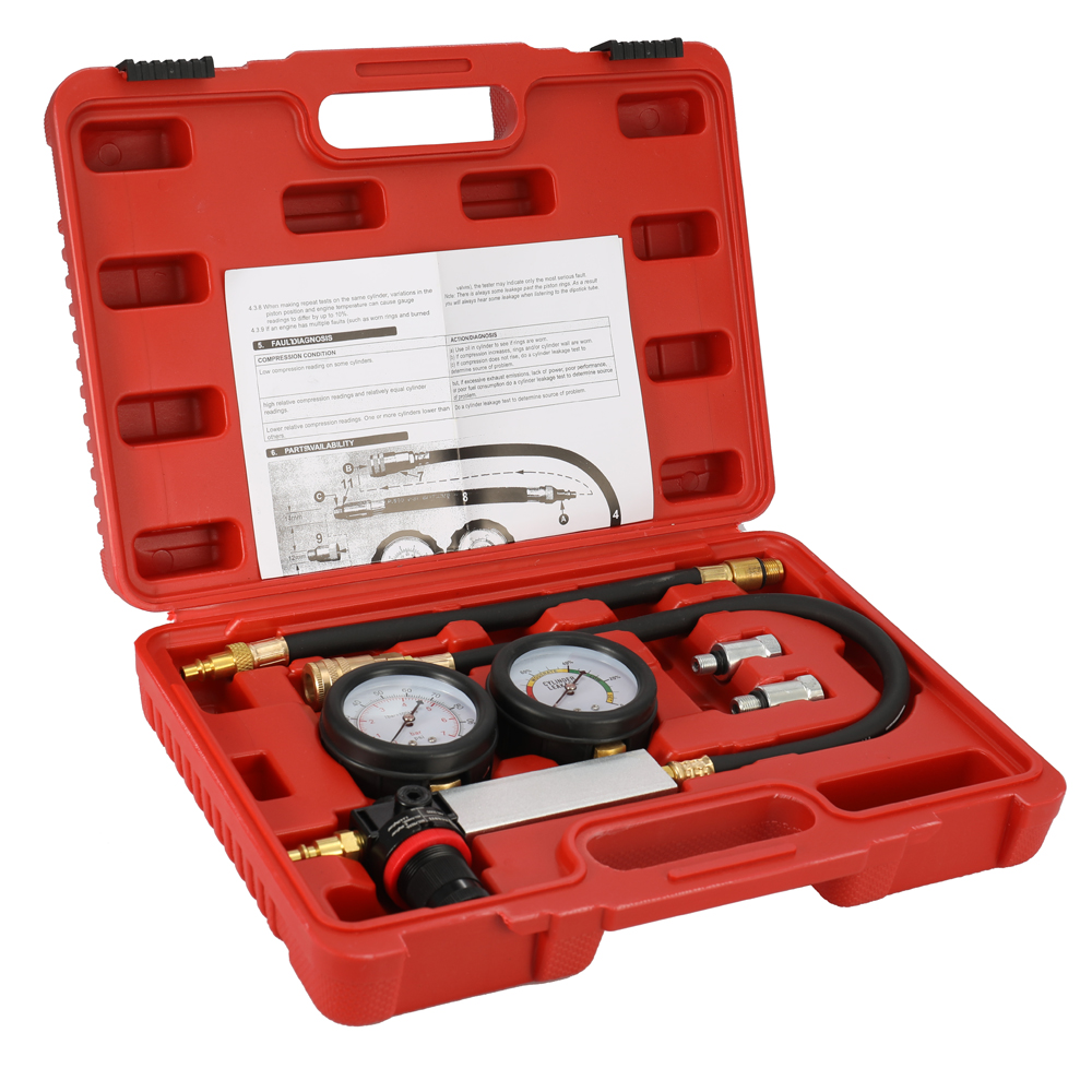 Compression Leakage Detector Kit Set Auto Cylinder Leak Tester Petrol Engine Gauge Tool Kit Double Gauge
