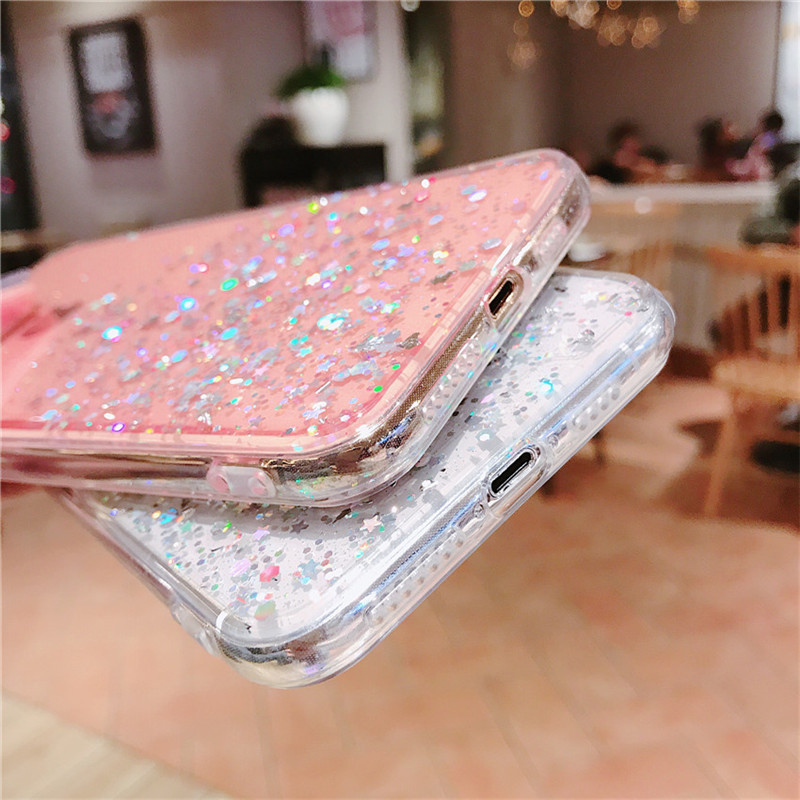 Glitter Bling Sequins for iphone 7 8 Plus 6 6s Transparent Case For iphone X XR XS MAX phone cover bag in Fitted Cases from Cellphones Telecommunications