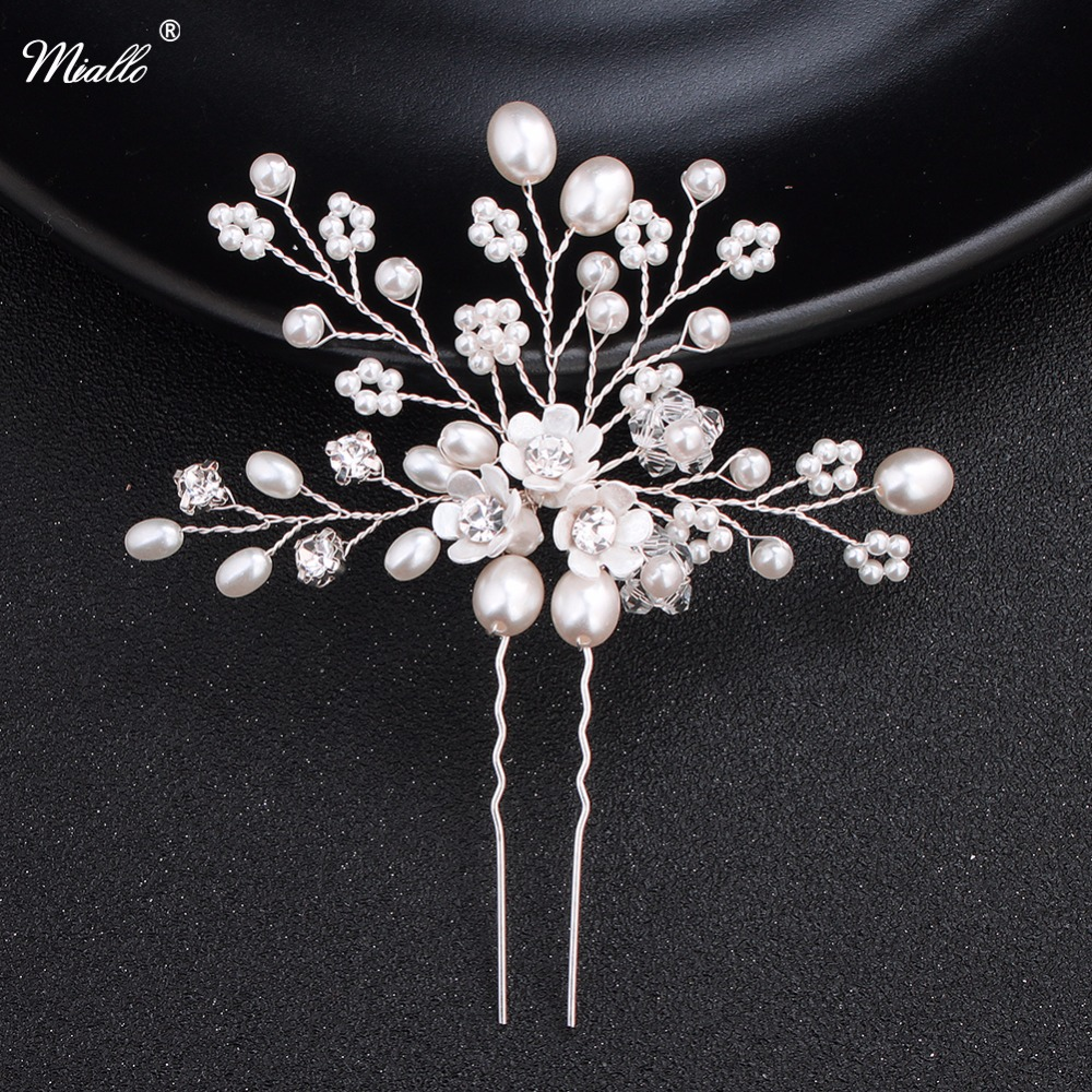 us $4.24 15% off|miallo charm bridal wedding hair pins pure handmade bridal hairpins pearl flower wedding hair accessories-in hair jewelry from