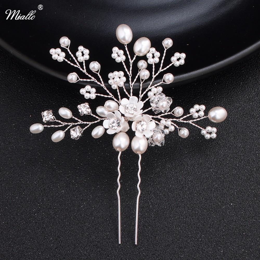 Miallo Charm Bridal Wedding Hair Pins Pure Handmade Bridal hairpins Pearl Flower Wedding Hair Accessories