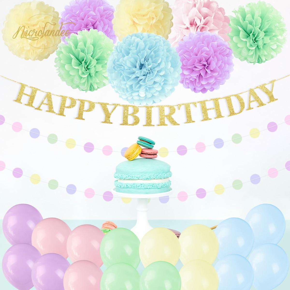 NICROLANDEE Macaron Verde Rosa Azul Flor De Papel Balões Festa Feliz Aniversário Decoração DIY Caso 2019 Nova Chegada