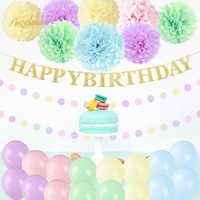 NICROLANDEE Macaron Pink Green Blue Paper Flower Balloons Happy Birthday Party Decoration DIY Event 2019 New Arrival
