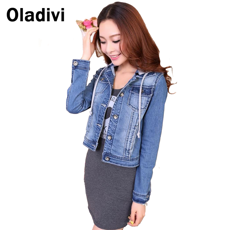 Fashion Women's Denim Jacket Hoodies 2016 Spring Outerwear Female/Ladies Short Coat Slim long-sleeve Jeans Tops - Oladivi official store