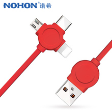 NOHON 3 in 1 Lighting Charger Data Cable 8 Pin For iPhone X 7 8 6 Micro USB Type C For Xiaomi Huawei Fast Sync Charging Line 1M pofan 8 pin micro usb data sync charging cable