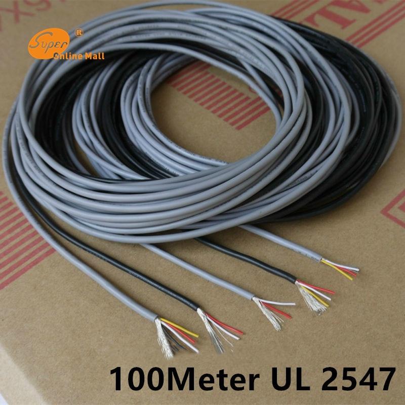 100 m ul 2547 28 26 24 awg cabo de controle multi core fio de cobre