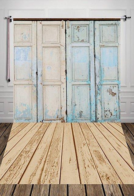 5x10ft Rustic Barn Door Photo Backdrop Old Barn Photography Backdrop Blue  Barn D7507