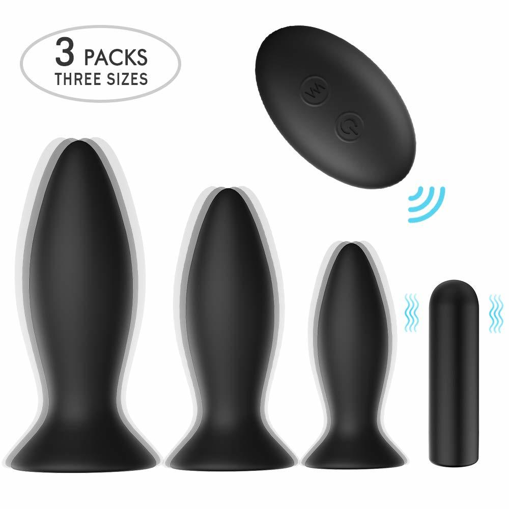 Set Anal Plug Training Vibrators Remote Control 9 Vibration Modes Sex Toys With Suction Cup Base
