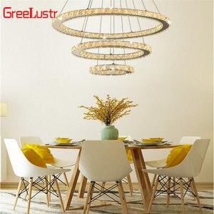 Image 4 - Lampe Led suspendue en acier inoxydable avec 3 anneaux, produit de luxe, Luminaire décoratif dintérieur, Luminaire dintérieur