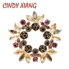 CINDY XIANG Luxury High Grade Crytsal Flower Brooches For Women Wedding Fashion Shining Pins Vintage Elegant Brooch New Arrival