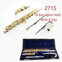 Япония профессиональная флейта 271/271 S с E 16 отверстие Открыть отверстия C тон Посеребрённый золотой ключ флейта, музыкальный инструмент Flaut