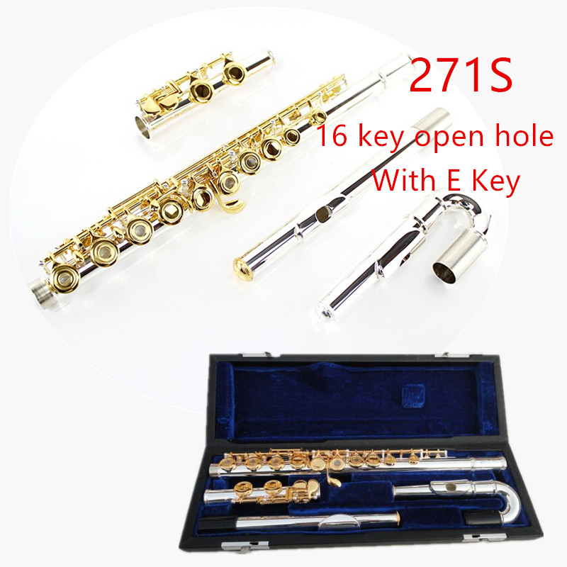 Japan Professional Flute 271/271S With E 16 Hole Open Hole C tone Silver plated silver Gold Key Flute Musical Instrument Flaut