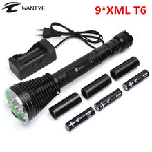Powerful LED Flashlight 18000 Lumen 9* XML T6 Self defense 5 Modes Tactical LED Flash light Torch +3×18650 Battery+Charger