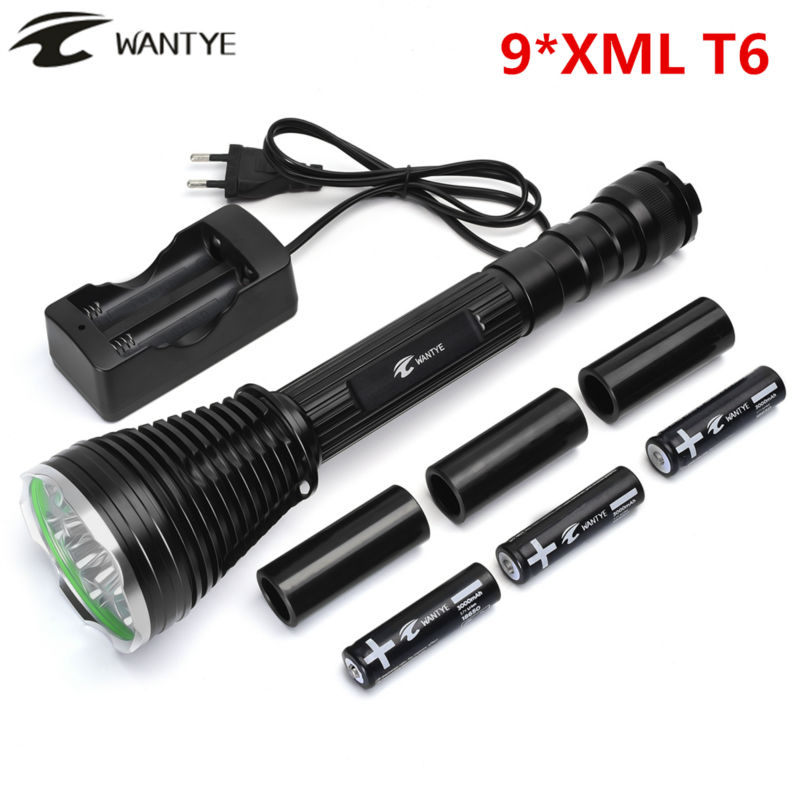 Powerful LED Flashlight 18000 Lumen 9* XML T6 Self defense 5 Modes Tactical LED Flash light Torch +3x18650 Battery+Charger high power g700 tactical military led flash light 2000 lumen xml t6 5 modes zoomable diving flashlight torches by 18650 or aaa