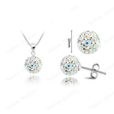 YiKLN Trendy Rhinestone Jewelry Sets Silver Color Pendants & Earrings 10mm Disco Ball Bead Austrian Crystal Set For Women SHSE51