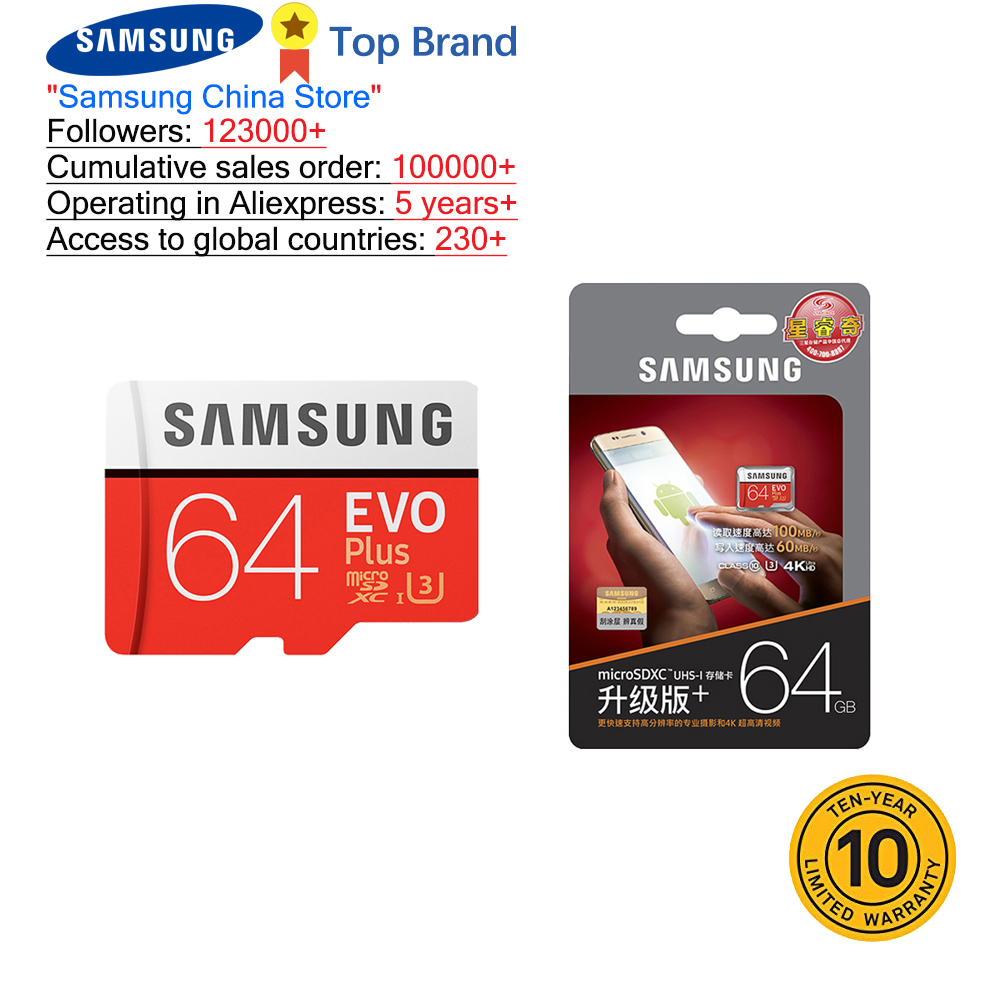 SAMSUNG 100% Original TF Micro SD Card Memory Card MicroSD EVO Plus Class10 U3 32GB 64GB 128GB 256GB Smartphone Tablet Camera