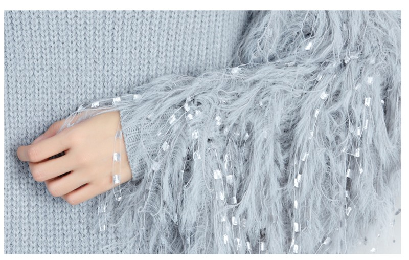 RUGOD Fashion Ostrich Feather Knitted Dress 2018 Sping Elegant Lace ...