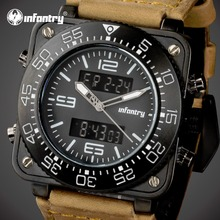 Infantry hombres deportes relojes cara cuadrada del ejército militar de cuarzo relojes digitales relojes led display reloj de pulsera relojes de marca de lujo