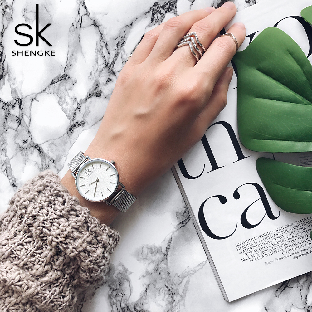 SK Super Slim Silver Mesh Stainless Steel Watches Women Top Brand Luxury Casual Clock Ladies Wrist Watch Lady Relogio Feminino relogio feminino top brand women watches fashion stainless steel analog quartz wrist watch lady luxury mesh band bracelet watch