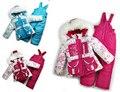 DT0149 детская Зимняя Одежда Набор Новорожденных Девочек Лыжный Костюм Устанавливает Ветрозащитный цветок Теплое Пальто Меховая Куртка + Биб Брюки + Шерсть Жилет