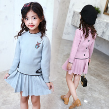 New Girls Clothes Sets Spring Autumn Fashion Sweater Dress 2PCS Suit Girls Sports Suits Children Clothing 4 6 8 10 12 13 Years стоимость