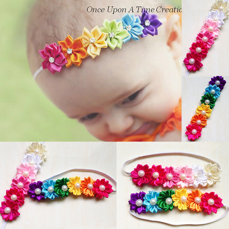 HQ 1Pc Baby Girl Flower Headband Crystal Pearl Hairband Kids Elastic Head Band Children Multicolor Hair Accressories NXH1737 children headbands baby headwear flower hairband pearl girl headband hair band princess accessories p239