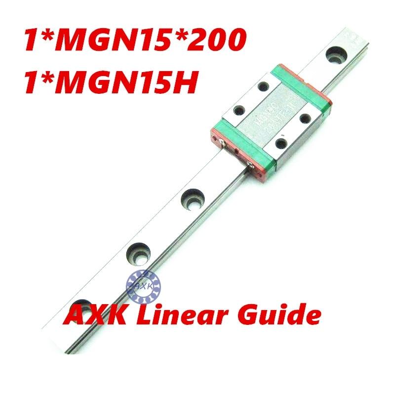 Free shipping 3D print parts cnc AXK MGN15 15mm miniature linear rail slide 1pcs 15mm L-200mm rail+1pcs MGN15H carriage 3d print parts cnc machine linear rail slide hgw20mm 20mm 1pcs 20mm l 200mm 2pcs hgw20ca carriage